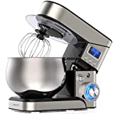LILPARTNER Stand Mixer, 1200W Stainless Steel Mixer 5.3-QT LCD Display Kitchen Electric Mixer, 6+P Speed Food Mixer Tilt-Head Mixer with Stainless Steel Bowl, Dough Hook, Beater, Whisk