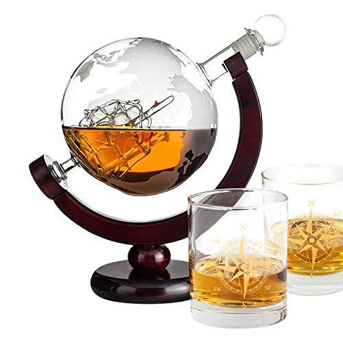 Geschenke 24 Whiskyset mit Glas Gold - Glaskaraffe mit gravierter Weltkarte und 2 Whiskey Gläser -...