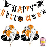 Home Kitty Halloween Party Balloons Decorations Kit - Happy Halloween Banner and 30 pcs 12 Inches Pumpkin Ghost Bat Specter Spider Web Latex Balloons for Halloween Party Supplies