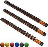 Olsa Tools 1/2-Inch, 3/8-Inch & 1/4-Inch Drive Aluminum Socket Organizer   Professional Quality Socket Holder (Orange)