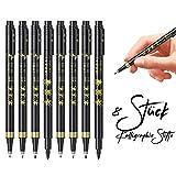 Stylos Calligraphie, baozun 8 Pcs Ensemble de Calligraphie à Stylos en Marqueurs à Calligraphie pour Stylo Pinceau 4 Tailles,Noir, Rechargable pour Débutants,Journalisation,Signature,Dessin d' Art
