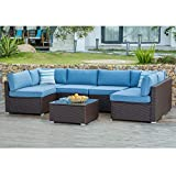 COSIEST 7-Piece Outdoor Patio Furniture Chocolate Brown Wicker Sectional Sofa w Heritage Blue Cushions, Glass-Top Coffee Table, 2 Stripe Woven Pillows Incl. Waterproof Cover, Clips for Garden, Pool