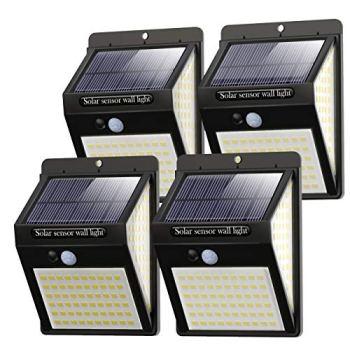 Litogo Lampe Solaire Extérieur 4 Pack 140 LED Lumiere Solaire Exterieur Detecteur de Mouvement led éclairage Solaire Extérieur étanche Sans Fil Spot Solaire Lumière Puissant Sécurité pour Jardin