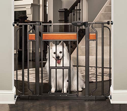 Carlson Home Design Extra Wide Walk Thru Pet Gate with Small Pet Door, Includes Dcor Hardwood, 4-Inch Extension Kit, 4-Inch Extension Kit, 4 Pack of Pressure Mount Kit and 4 Pack of Wall Mount Kit