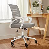 Home Office Chair, Ergonomic Mesh Desk Computer Chair with Upgraded Crystal Clear Rubber Casters Adjustable Swivel Rolling Mid Back Task Chair with Lumbar Support Armrests for Women Men Adults