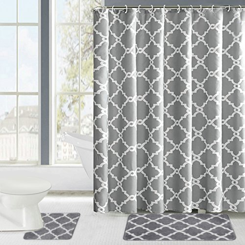 Fashion Dream Shower Curtain Set Bathroom Carpet Set Geometric Patterned Shower Curtain Gray White 18 x 30 ' Bath Carpet , 18 x 18' Toilet Carpet ,Shower Curtain. Morocco Design