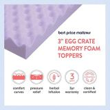 Best Price Mattress 3 Inch Egg Crate Memory Foam Mattress Topper with Soothing Lavender Infusion, CertiPUR-US Certified, Queen
