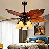 Tropical Ceiling Fan with Light 52-Inch Chandelier Fan with 5 Wood Blades, Home Indoor Bedroom Living Room Palm Rustic Quiet New Bronze Fan Light