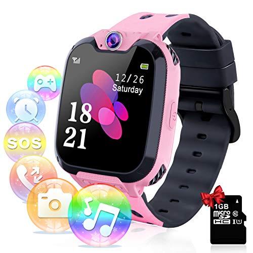 Smartwatch per Bambini con Lettore Musicale - Gioco Puzzle Telefono SOS Smart Watch con Scheda SD Sveglia Fotografica Regalo di Compleanno Festival per Ragazzi e Ragazze Touch Screen (Rosa)