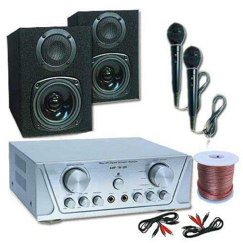 Skytec Kleine Pa-Anlage HiFi Komplettset mit MC130 2-Wege Passiv Boxen 100W und TM2000 360W max. Leistung inklusive 2X Mikrofone