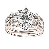1.25 Ctw 14K Rose Gold Baguette Round Diamond Engagement Ring Wedding Bridal Band Set Marquise Shape...