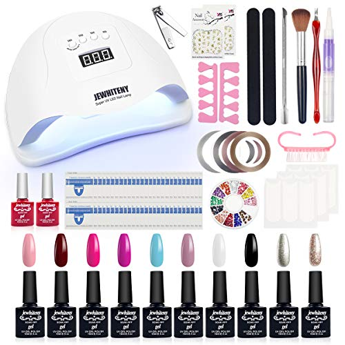 Gel Nail Polish Start Kit with 72W UV LED Nail Lamp UV Light, 10 Colors Gel Polish Set Base Top Coat with Full DIY Gel Manicure Nail Tools