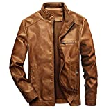 WULFUL Men's Stand Collar Leather Jacket Motorcycle Lightweight Faux Leather Outwear Brown-L