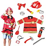 Wesprex Fireman Role Pretend Play Costume Dress-Up Set for Kids Children Boys and Girls with Complete Firefighter Accessories (12 Piece)