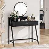 Tribesigns Vanity Table with Round Mirror, Makeup Dressing Tables with Drawer and Storage Shelf for Small Space, Bedroom, Dresser Desk for Women, Black