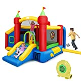 Costzon Inflatable Bounce House, 7-in-1 Jump and Slide Bouncer w/ Basketball Rim, Football & Ocean Ball Playing Area, Dart Target, Including Oxford Carry Bag, Hand Pump, Stakes (with 480W Air Blower)