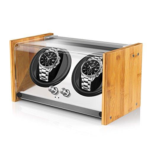 Watch Winder Smith Uhrenbeweger aus Bambusholz für 2 großen Herren Automatikuhren