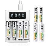 EBL LCD Chargeur de Piles Rapide- avec 4PCS AA 2800mAh et 4PCS AAA 1100mAh Piles...
