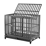 Dog Cage Crate Kennel Heavy Duty Tear Resistant Square Tube with Four Wheels for Large Dogs Easy to Install(46in Gray)