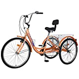 Adult Tricycles, 7 Speed Adult Trikes 20/24/26 inch 3 Wheel Bikes with Large Basket for Recreation, Shopping, Picnics Exercise Men's Women's Cruiser Bike (Orange, 24' Wheels/7 Speed)