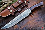 Bobcat Knives Custom Handmade Damascus Steel Bowie Knife with Leather...