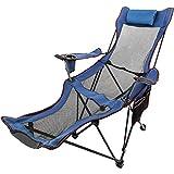 Ukiki Chaise de Camping Pliante avec Repose Pieds Chaise Longue en Résille avec Porte Tasse Sacde...