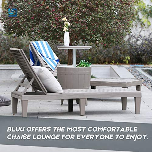BLUU Chaise Lounge Chairs for Outdoor Patio Use   Adjustable with 5 Positions   Wood Texture Design   Waterproof   Easy to Assemble   Max Weight 330 lbs