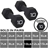 BLACK Neoprene Dumbbell (Sold in pairs) Non-Slip, Hex Shape, Free weights set for Muscle Toning, Strength Building, Weight Loss - Perfect for Home Use and Small Personal Training Studio (10 LB Pair)