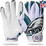 Franklin Sports Philadelphia Eagles Youth NFL Football Receiver Gloves - Receiver Gloves For Kids - NFL Team Logos and Silicone Palm - Youth M/L Pair
