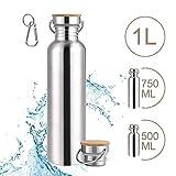SKYSPER Gourde INOX 500ML, Bouteille d'eau Écologique sans BPA en Acier Inoxydable avec Bouchon en...