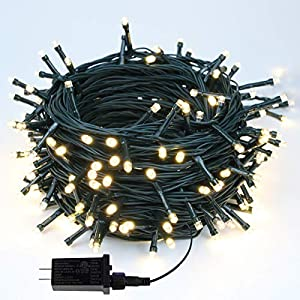 [HIGH QUALITY & SAFE Twinkle Lights] – The 240 LED warm white green wire mini Christmas string lights are made of 100% Commercial grade bulbs, 29V low voltage plug with ETL certification for safe use. Length between bulbs: 3.9 Inches/ 10cm. Total Len...