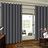 Extra Wide Premium Thermal Insulated Blackout Curtain Panel, Sliding Door Insulated Drape, Room Divider Curtains, Energy Efficient Patio Door Curtain Panel, 100' x 96', One Panel, Charcoal Gray
