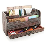 3 Tier Country Rustic Torched Wood Office Desk File Organizer Mail Sorter Tray Holder w/Storage...