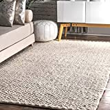 nuLOOM Glendora Chevron Wool Area Rug, 5' x 8', Ivory