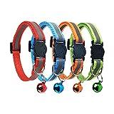 D-BUY Cat Collars with Bell, Breakaway Cat Collars, Reflective Cat Collars, Nylon Cat Collars with Bell, Collars for Cats (4 Colors)