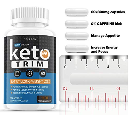 (1100 MG) Keto Trim Pills 800 Shark Tank, Trim Fast Keto Pill Weight Loss Diet Supplement for Energy, Focus - Exogenous Ketones for Rapid Ketosis - Ketogenic BHB for Men Women (60 Capsules) 3