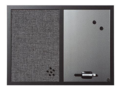 Bi-Office Kombitafel Black Shadow, Pinnwand und Whiteboard, Hellgrau Textiloberfläche und Silber Magnetisch, MDF Rahmen 22 mm dicker, 60 x 45 cm