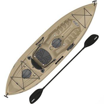 """Lifetime Muskie Angler Sit-On-Top Kayak with Paddle, Tan, 120"""""""""""" (90508)"""