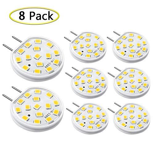 G8 LED Bulb Dimmable 3W Mini Thin Puck Light Bulbs Equivalent to 20W-25W T4 G8 Bi-Pin Base Halogen Bulb, 120V Warm White 3000K G8 Bulb for Under Counter Kitchen Lighting, Under Cabinet Light (8 Pack)