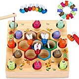 LETOMY Jouets en Bois Jeu de pêche, 2 In1 Jeux Montessori en Bois Bebe Puzzle...