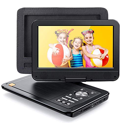 APEMAN 12.5' Portable DVD Player for Car/Kids with Car Headrest Mount Case, Built-in 7h Rechargeable Battery with 10.5' Swivel Screen Support USB/SD Card/Sync TV and Multiple Disc Formats