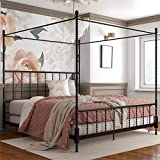 Pemberly Row Parisian Style Design Metal Canopy Bed in King Size Frame in Black