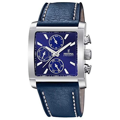 Festina Herren Chronograph Quarz Uhr mit Leder Armband F20424/2