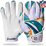 Franklin Sports Miami Dolphins Youth NFL Football Receiver Gloves - Receiver Gloves For Kids - NFL Team Logos and Silicone Palm - Youth M/L Pair