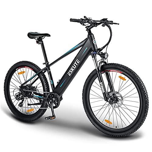 """ESKUTE 27.5""""Vélo Electrique de Montagne, Batterie Lithium-ION 36V/12.5Ah Amovible Cachée, Shimano Dérailleurs 7 Vitesses, Frien à Double Disque, E-Bike VTT pour Adulte"""