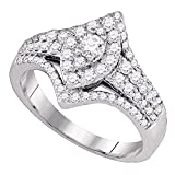 Sonia Jewels Size 7-14K White Gold Marquise & Round Diamond Engagement Ring - Prong Set Marquise...