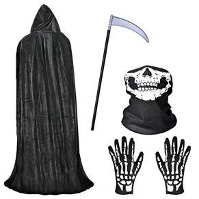 Fabu Negro Largo Capa con Capucha para Halloween Carnaval, Guantes de Esqueleto y Máscara de Calavera Disfraz Plástico…