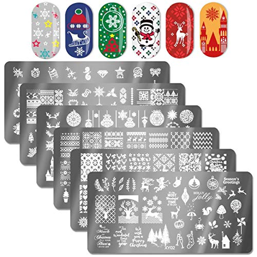 OYCOLOR 6Pcs Christmas Nail Stamping Plate Set 1Nail Stamper 1Scraper 1Storage Bag Snowman Holiday Design Nail Template Image Plate Manicure Stamp Kit