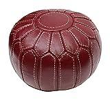 Pouf en Cuir Marocain Rouge Bordeaux Repose-Pied Pouffe Rond Fait Main Version...