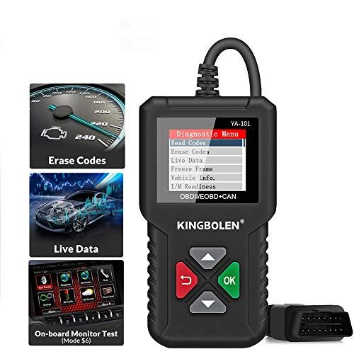 KINGBOLEN OBD2 Scanner YA101 Code Reader,Universal Automotive Engine Light Check Scan Tool Checks O2 Sensor and EVAP Systems with Full OBD2 Functions, Supports Mode6 with DTC Lookup